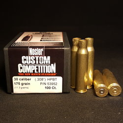 .308 LAKE CITY + NEW NOSLER .308 Cal 175 GR Hollow Point Boat Tail Projectiles 100+