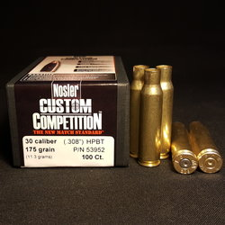 .308 WIN + NEW NOSLER .308 Cal 175 GR Hollow Point Boat Tail Projectiles 100+