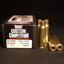 .308 LC PROCESSED + NEW NOSLER .308 Cal 175 GR Hollow Point Boat Tail Projectiles 100+
